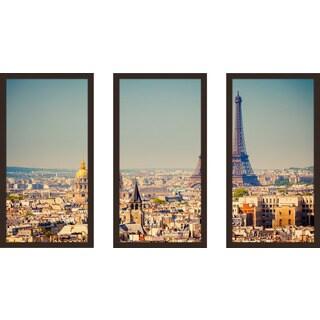 """Eiffel Tower 1"" Framed Plexiglass Wall Art Set of 3"