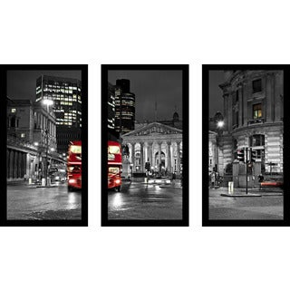 """London England"" Framed Plexiglass Wall Art Set of 3"