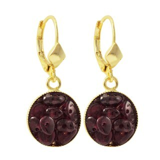 Luxiro Gold Finish Garnet Semi-precious Gemstone Circle Dangle Earrings