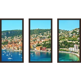 """""""Villefranche-Sur-Mer, Cote D'Azur"""" Framed Plexiglass Wall Art Set of 3"""