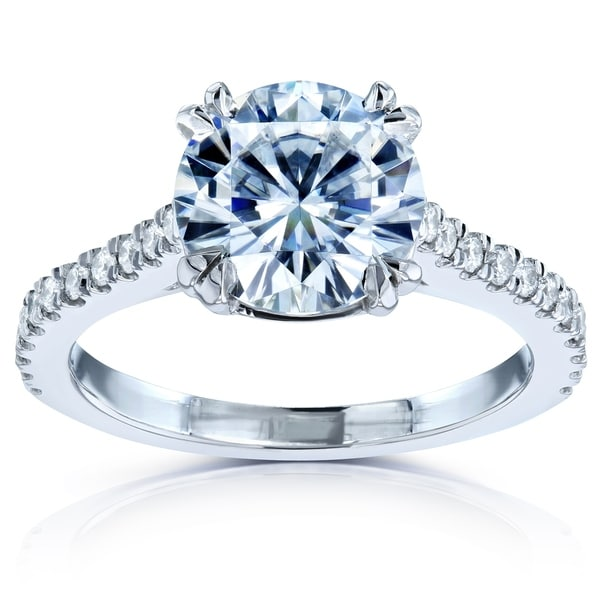 forever one moissanite halo engagement ring 14k shop annello by kobelli 14k white gold 2 1 5ct tgw