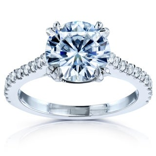 Annello 14k White Gold Round Forever One Moissanite and 1/4ct TDW Halo Diamond Engagement Ring (G-H, I1-I2)
