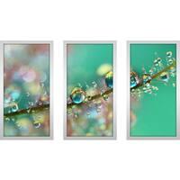"Sharon Johnstone ""Smokey Rainbow Drops"" Framed Plexiglass Wall Art Set of 3"
