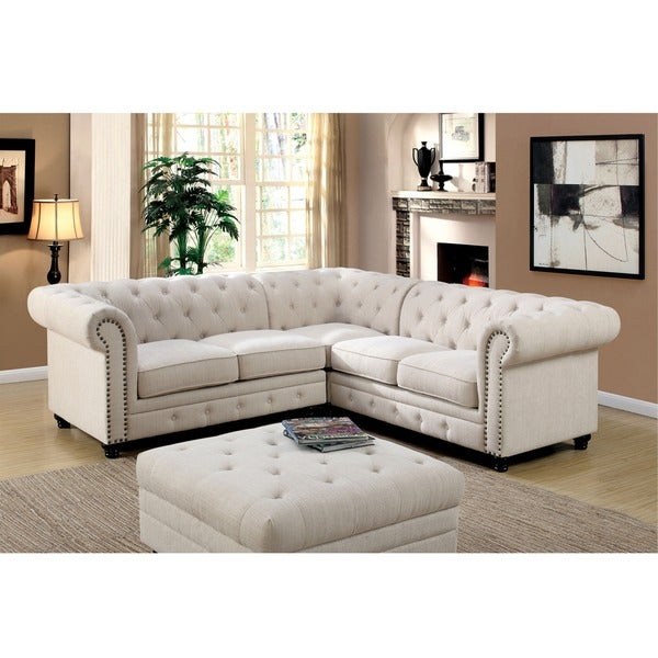 Furniture Of America Sylvana Traditional Tufted Linen Sectional