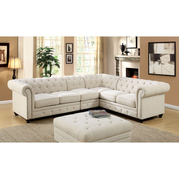 Furniture Of America Sylvana Traditional Tufted Linen Like