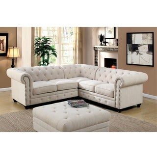 Furniture of America Sylvana Traditional Tufted Linen-like Sectional