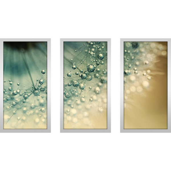 "Wall Art Set Of 3 sharon johnstone ""sea green sparkles"" framed plexiglass wall art"