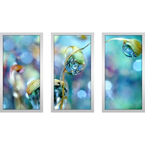 "Sharon Johnstone ""Smokey Rainbow Drops"" Wall Art Set of 3 - Blue"