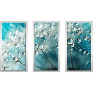 "Sharon Johnstone ""Indigo With White Sparkles"" Framed Plexiglass Wall Art Set of 3"