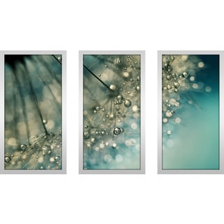 "Sharon Johnstone ""Indigo Sparkles"" Framed Plexiglass Wall Art Set of 3"