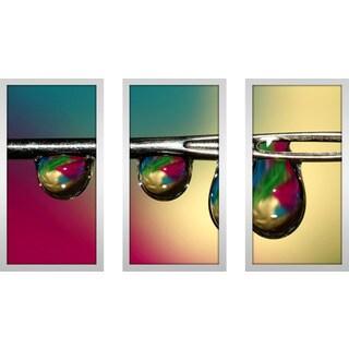 "Sharon Johnstone ""Drop"" Framed Plexiglass Wall Art Set of 3"