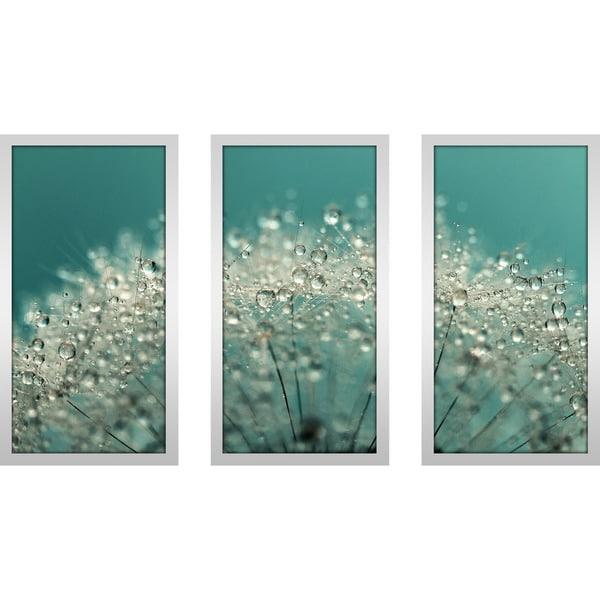 Picture Perfect International Sharon Johnstone Cyan Sparkles Framed Plexiglass Art Set of 3 Wall-Decor 13.5 W x 25.5 H x 1 D