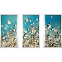 "Sharon Johnstone ""Crazy Cactus Droplets"" Framed Plexiglass Wall Art Set of 3"