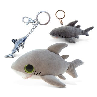Puzzled Shark Big Eye Plush Shark, Keychain and Sparkling Charm