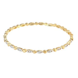 Women's Gold Colored Cubic Zirconia Bangle Bracelet