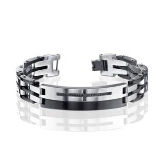 Men's Two Tone Black Sapphire Cross Bracelet