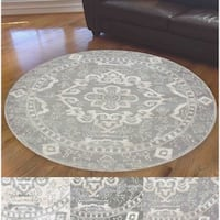 Admire Home Living Ivory Medallion Area Rug (6'7 Round) - 6'7 Round