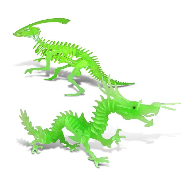 Puzzled Dragon and Parasaurolophus Glow-in-the-dark 3-D Puzzle