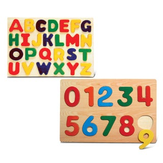 Puzzled Numbers and Letters Wooden Small Educational Raised Puzzle