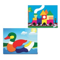 Puzzled Children's Multicolor Wood Duck and Train Educational Puzzles (Set of 2)