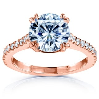 Annello 14k Rose Gold Round Forever One Moissanite and 1/4ct TDW Halo Diamond Engagement Ring (G-H, I1-I2)