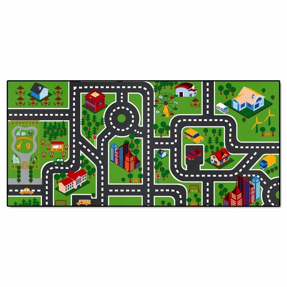 Fan Mats Imaginative Kids Nylon City Road Play Mat (Multi...