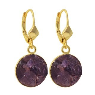 Luxiro Gold Finish Amethyst Semi-precious Gemstone Circle Dangle Earrings