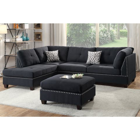 Lili Sectional Sofa 3-Piece Set with Ottoman