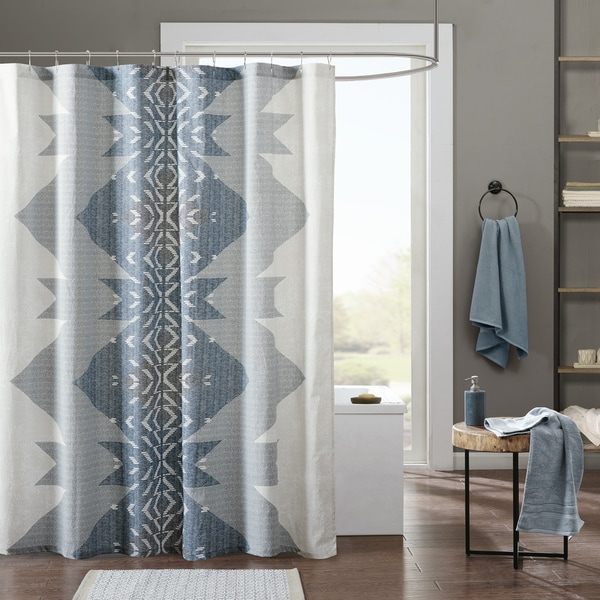 Shop INK+IVY Nova Blue Cotton Percale Printed Shower Curtain - On ...