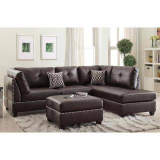Espresso Bonded Leather 3-piece Sofa Sectional