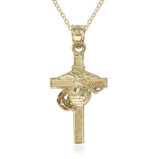 U.S. Marine Corps 14k Yellow Gold 16-Inch Cross Pendant Necklace