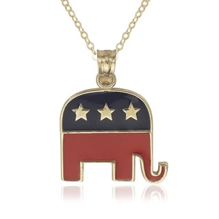 14-karat Yellow Gold Enamel Republican Elephant Political Pendant 16-inch Necklace