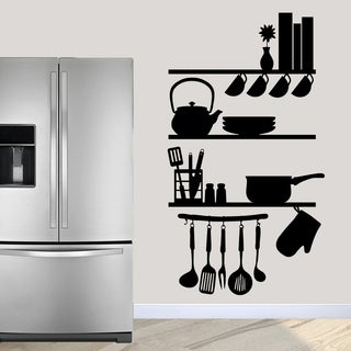 "Kitchen Shelves Utensils Wall Decal - 40"" wide x 72"" tall"