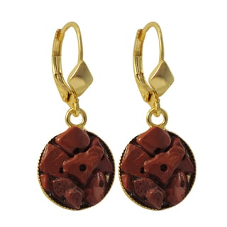 Luxiro Gold Finish Red Agate Semi-precious Gemstone Circle Dangle Earrings