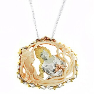 One-of-a-kind Michael Valitutti Carved Cameo and Crafted Lady Pendant with Orange Sapphire