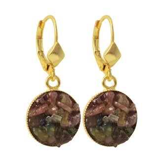 Luxiro Gold Finish Tourmaline Semi-precious Gemstone Circle Dangle Earrings