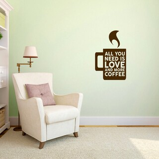 "Love And More Coffee Wall Decal - 15"" wide x 24"" tall"
