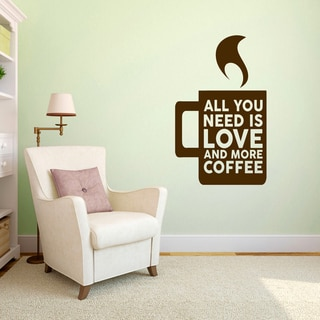 "Love And More Coffe Wall Decal - 22"" wide x 36"" tall"