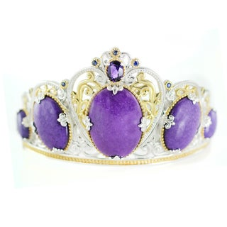 One-of-a-kind Michael Valitutti Purple Jade, Amethyst and Blue Sapphire Queen Crown Bangle