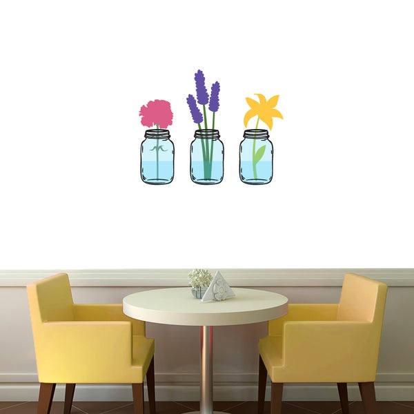 shop mason jar flowers printed wall decal - on sale - free shipping