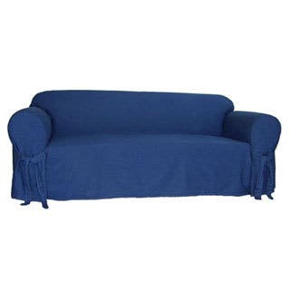 Classic Slipcovers Blue Denim Cotton 1-Piece Sofa Slipcover