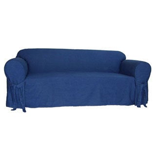 Classic Slipcovers Blue Denim One Piece Sofa Slipcover