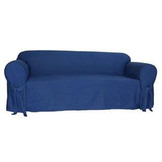Attirant Classic Slipcovers Blue Denim Cotton 1 Piece Sofa Slipcover
