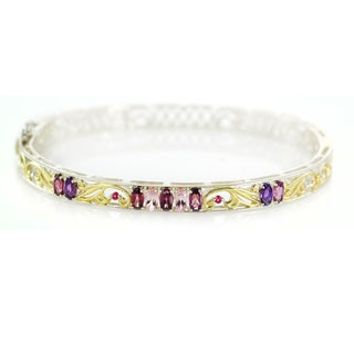 One-of-a-kind Michael Valitutti Rhodolite, Morganite, Pink Sapphire and Amethyst Bangle