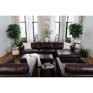 Urban Collection Cappuccino Top Grain Leather 4-Piece Living Room Furniture Set