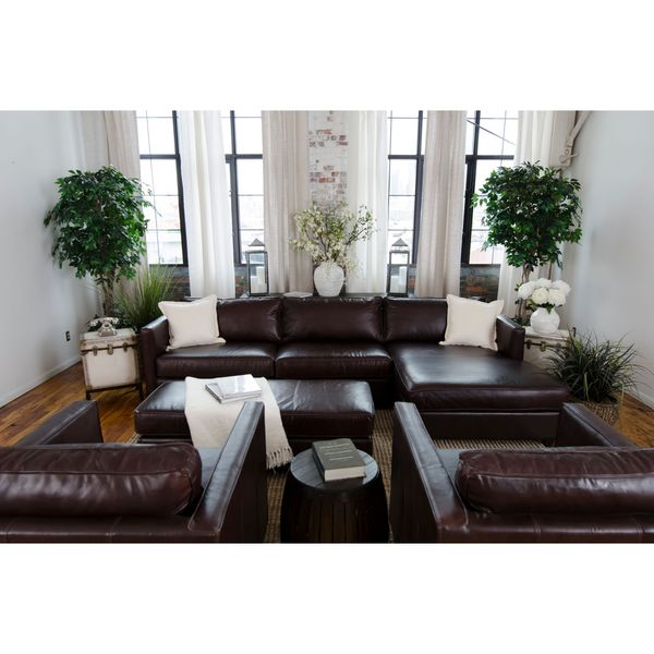Urban collection cappuccino top grain leather 4 piece living room