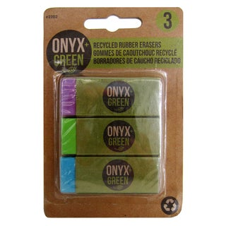 Onyx And Blue Corporation 2202 Recyled Rubber Erasers Assorted Colors 3 Count