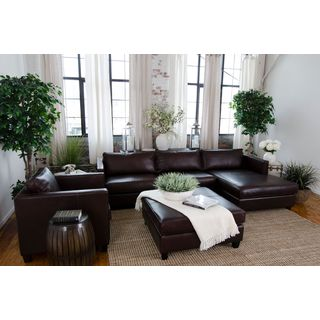 Urban Collection Cappuccino Top Grain Leather 3-Piece Living Room Furniture Set
