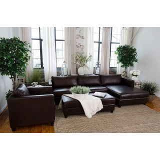 Urban 3-Piece Top Grain Leather Collection (Left Arm Loveseat, Right Arm Chaise, Standard Chair, Rectangle Cocktail Ottoman)