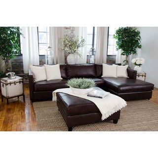 Urban Dark Brown Top Grain Leather 3-piece Sectional Set